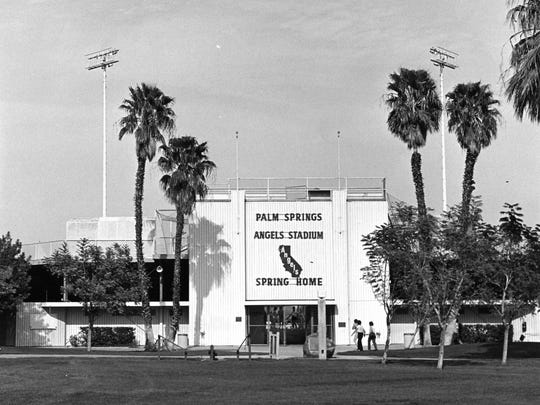 Front of Palm Springs Angels Stadium.