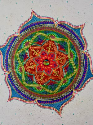 Artist Bala Thiagarajan's paintings are influenced by henna body art.