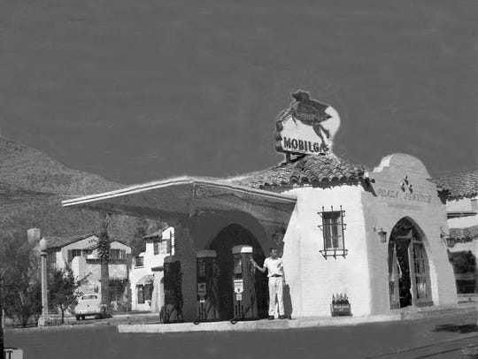 Gas station at La Plaza, now Tyler's Burger's.
