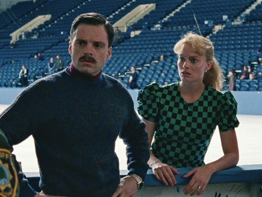 Margot Robbie, right, and Sebastian Stan, as Tonya