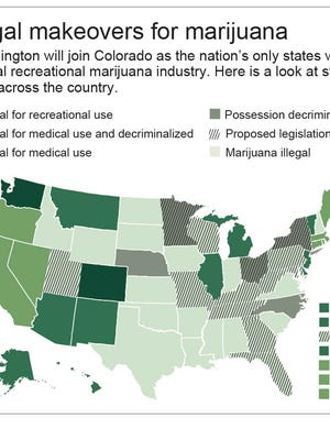 Map shows stages of legality for marijuana use in each state.; 2c x 4 inches; 96.3 mm x 101 mm;