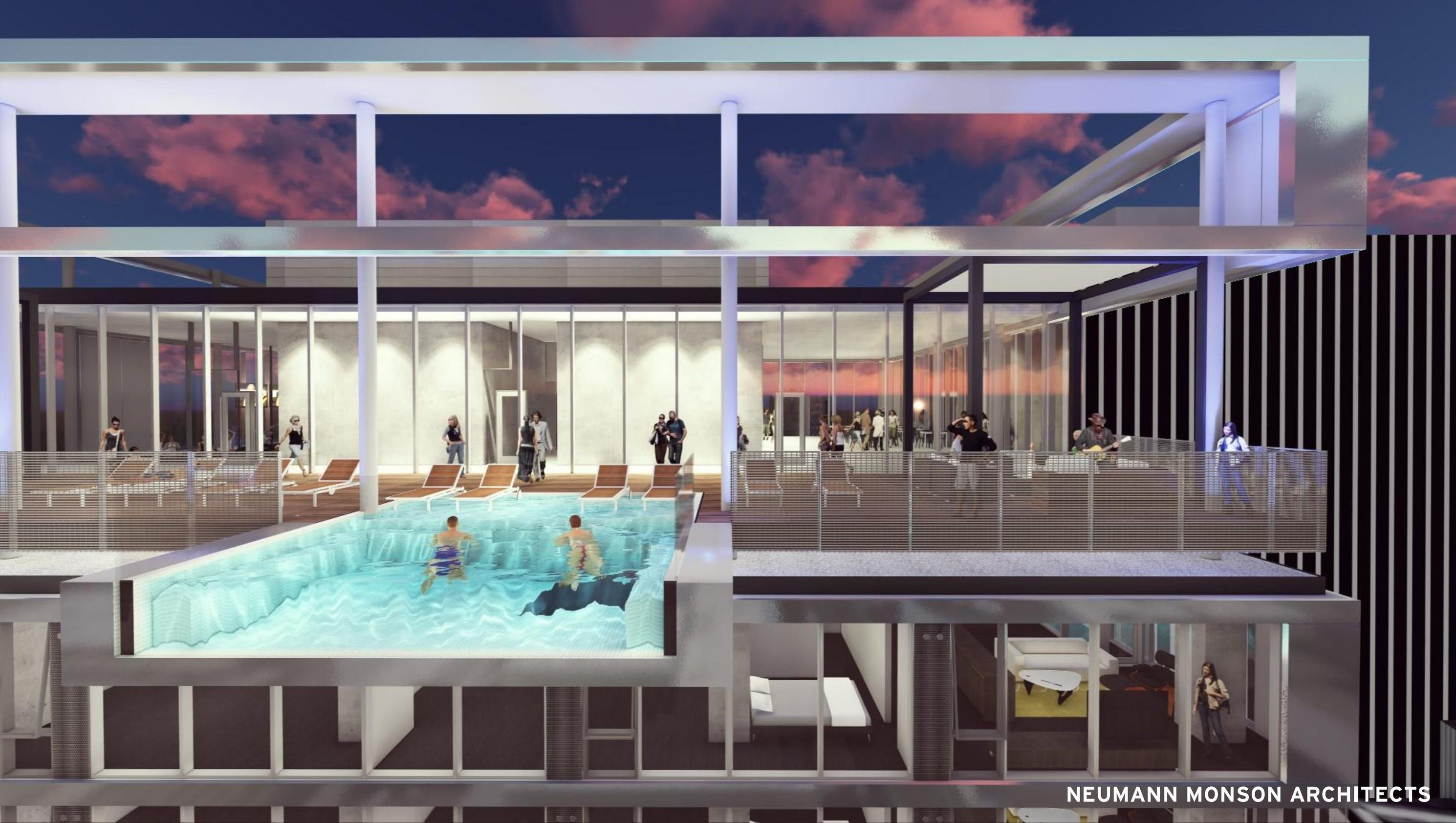 Hanging rooftop pool will let you look 26 stories down for Rooftop swimming pool design