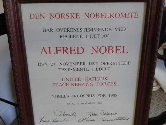As a former member of the United Nations Peace-keeping Forces, Dick Sayers was awarded the Nobel Peace Prize for 1988.