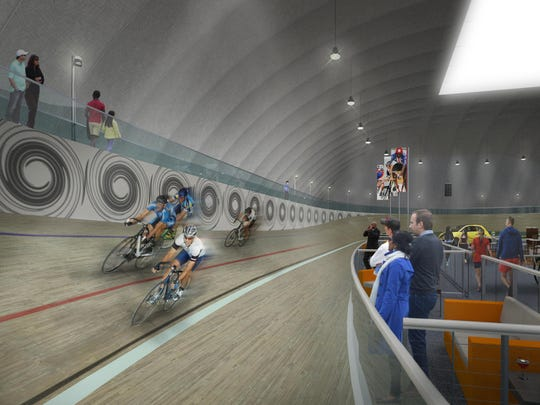 A rendering of an indoor cycling velodrome planned for Tolan Playfield in Detroit. The venue could be built by late September.