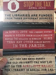 This flyer opposing renewal of a Lafayette Parish library
