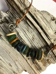 Slip on this colorful sea glass anklet for beady date