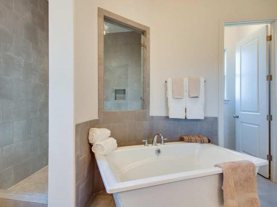 The master bath in the Celebration model home in South Haven.