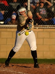 Abilene High's Mackenzie Cardenas (16) hits a ball during the top of the fourth inning of the Lady Eagles' 13-1 win in the Abilene Icebreaker softball tournament on Friday, Feb. 24, 2017, at Cooper High School.
