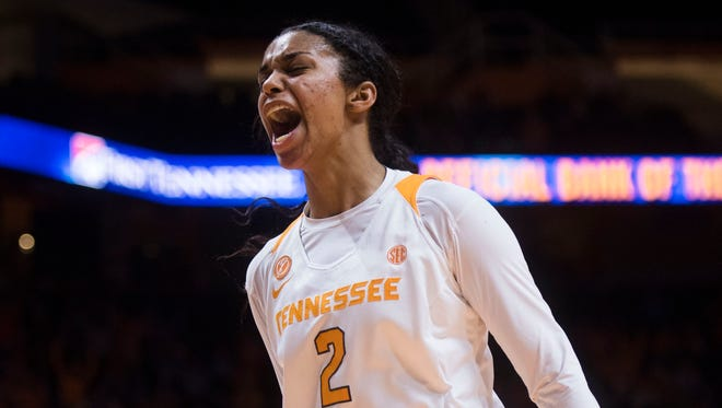 Tennessee guard Evina Westbrook (2) celebrates a Tennessee shot during a game between the Auburn Tigers and Tennessee at Thompson-Boling Arena in Knoxville, Tenn. Thursday, Jan. 4, 2018. Tennessee took down Auburn in the final minutes of the game, 70 to 59.