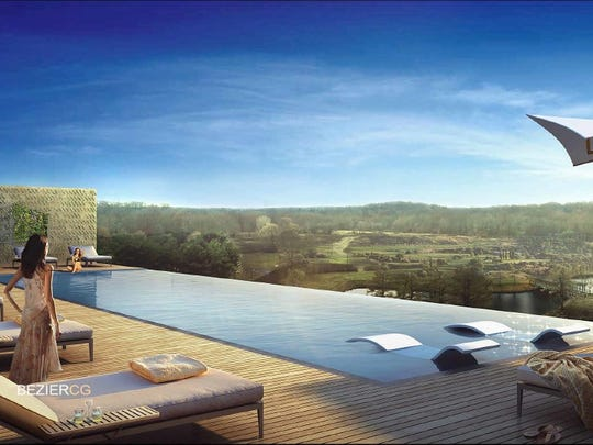 An artist's rendering of an infinity pool at a hotel at Bell Works in Holmdel. Courtesy of Alexander Gorlin Architects and Perkins Eastman