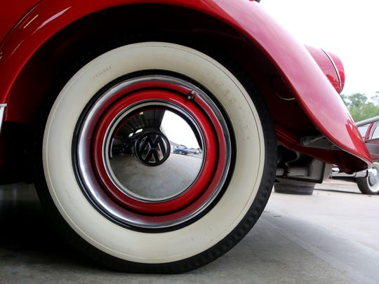 Detail of a 1962 Volkswagen Beetle convertible at Classic
