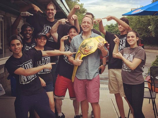 Joey Chestnut, the reigning Nathan's hot dog eating