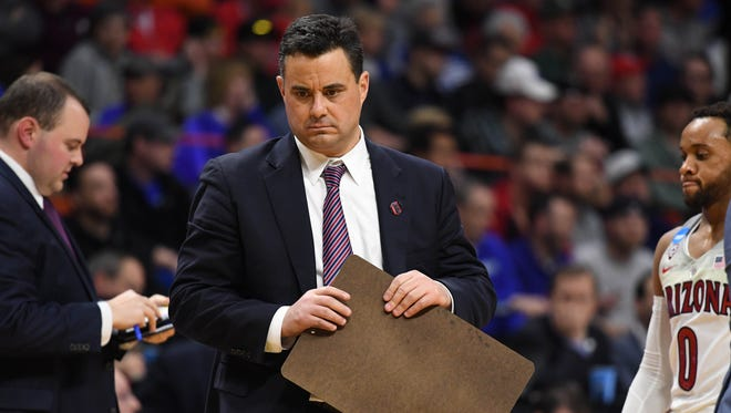 Mar 15, 2018; Boise, ID, USA; Arizona Wildcats head coach Sean Miller reacts in the second half against the Buffalo Bulls during the first round of the 2018 NCAA Tournament at Taco Bell Arena. Mandatory Credit: Kyle Terada-USA TODAY Sports