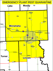 The Emergency Plant Pest Quarantine map from the South Dakota Department of Agriculture.