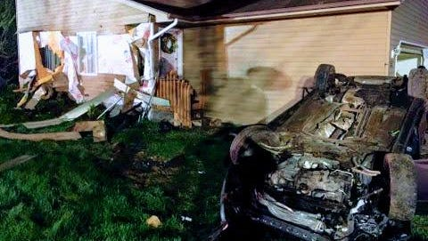 A vehicle crashed into a house Thursday, May 10, 2018, in the 600 block of Stevens Drive in Wausau.