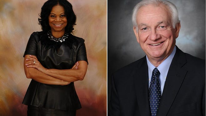 Ceretta Smith, left, and Max Burns, right, are running for the Georgia State Senate District 23 seat.