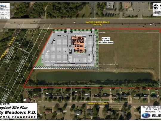 The City Council approved this site plan for Jim Keras Subaru on Hacks Cross Road in 2015.