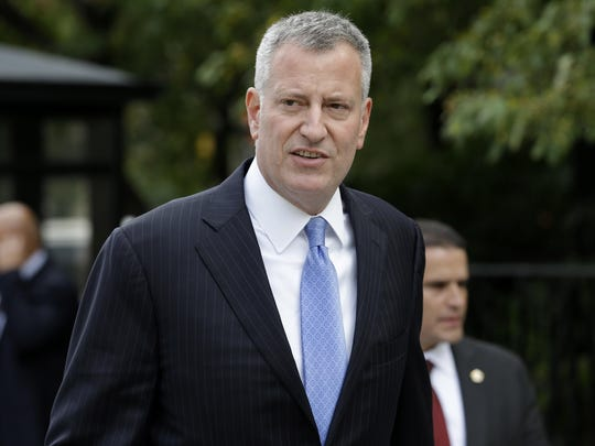 New York City Mayor Bill de Blasio arrives at City