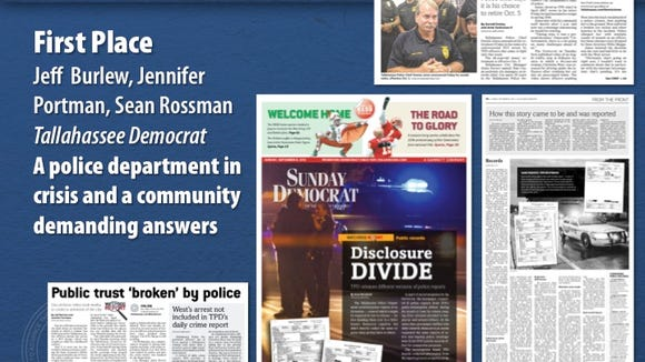Some of the stories in the Tallahassee Democrat's award-winning investigative report on display during Florida Society of News Editors contest