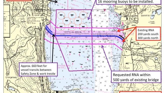 The new Regulated Navigation Zone around the Tappan Zee Bridge.
