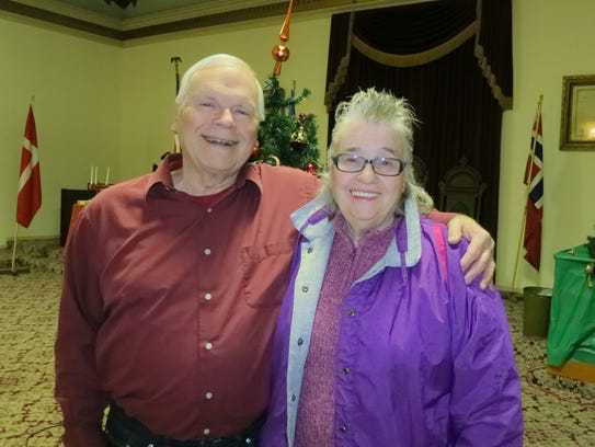 Clark Goebel and Mavis Simmons, both of Redding, attend