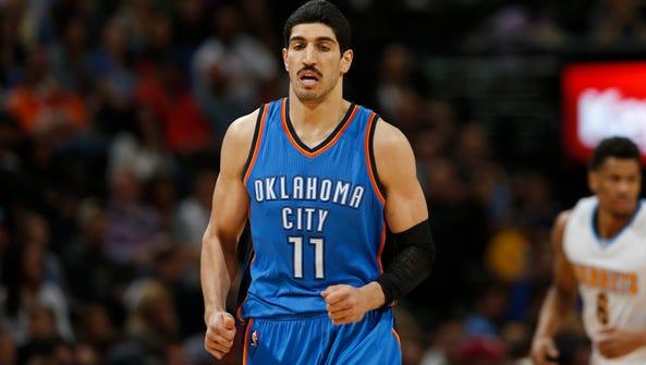 Oklahoma City Thunder center Enes Kanter (11) hopes