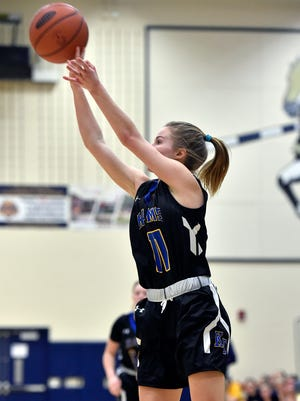 Kennard-Dale's Megan Thomas shoots against Eastern York in the second half a YAIAA girls' basketball game Friday, Jan. 26, 2018, at Eastern York. Kennard-Dale defeated Eastern York 53-42 in double overtime.
