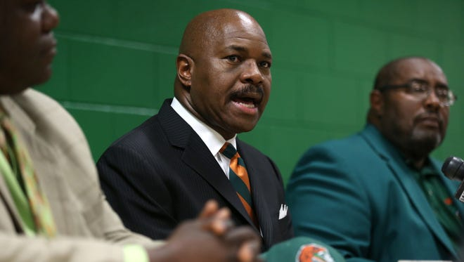 Robert McCullum is announced as the new Head Basketball Coach at FAMU during a press conference at the Al Lawson Center on Tuesday.