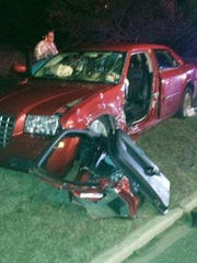 Theresa Watson's car was demolished after a wreck that almost killed her.