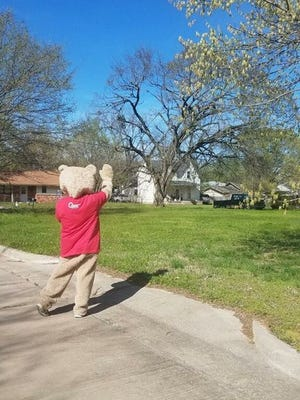 Community Renewal of Pottawatomie County's We Care. Bear is visiting neighborhoods in Shawnee.