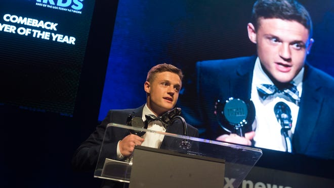 Stanton Martin wins comeback player of the year at the Knox News Sports Awards at the Tennessee Theatre in Knoxville, Tennessee on Thursday, May 31, 2018.