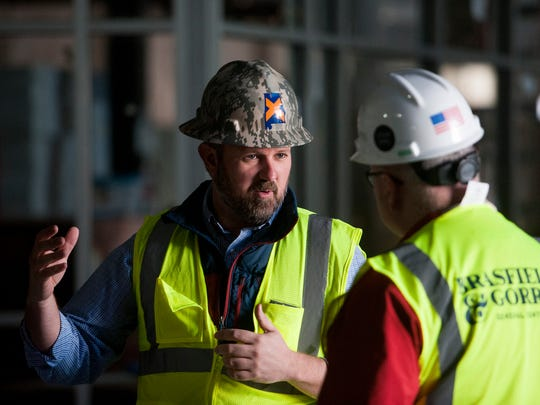 Zac Gibbs, manager of acquisitions and development for ELSAJA 39 Dexter LLC, on site as renovation and construction continues on the Kress Building in downtown Montgomery, Ala. on Thursday March 2, 2017.