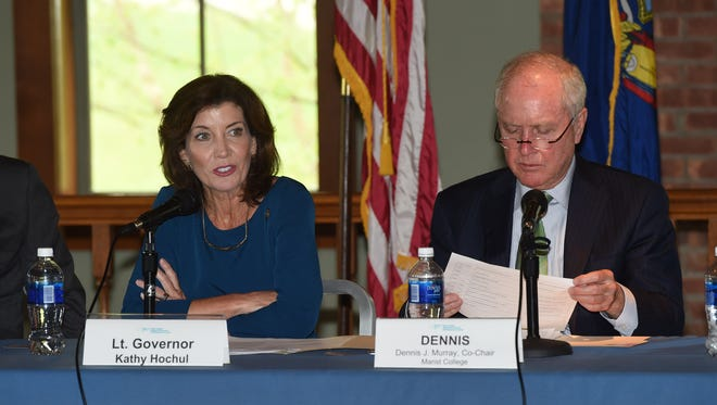 Lt. Gov. Kathy Hochul, left, speaks during a meeting of the Mid-Hudson Regional Economic Development Council at the Cornell Boathouse at Marist College in the Town of Poughkeepsie. Sitting on the right is Dennis Murray, president emeritus of Marist College and co-chair of the Mid-Hudson Regional Economic Development Council.