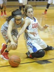 Cooper's Lexi Rau, right, battles at Odessa High player for a loose ball. OHS beat the Lady Cougars 66-25 in the Consolation Bracket Championship game at the Polk-Key City Classic on Saturday, Nov. 19, 2016 at Abilene High's Eagle Gym.