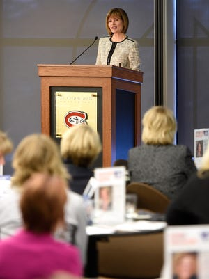 KARE 11 news anchor Diana Pierce speaks during Tuesday's Mentor Morning event at St. Cloud State University.