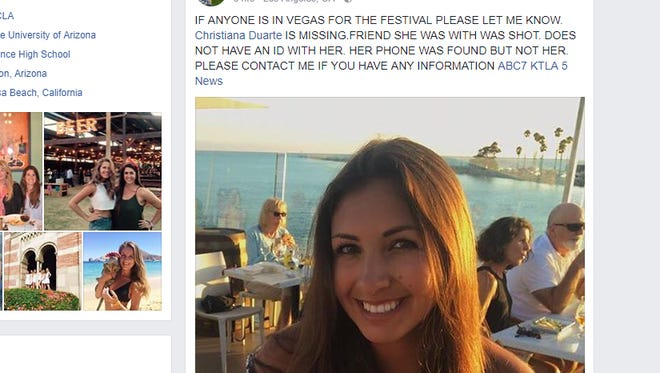 Family and friends spent Mondaydesperately searching for Christiana Duarte, a recent UA graduate. The22-year-oldwas attending the country music festival with her brother's girlfriend Sunday night when the shootings occurred.