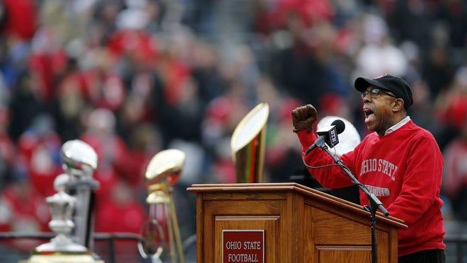 Ohio State president Michael V. Drake speaks during the Ohio State football national championship celebration at Ohio Stadium on Jan. 24, 2015.