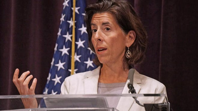 Gov. Gina Raimondo, here updating the press and residents on the state's coronavirus response, had a standout interview with the vice-presidential search team for presumptive Democratic presidential nominee Joe Biden, according to the New York Times.