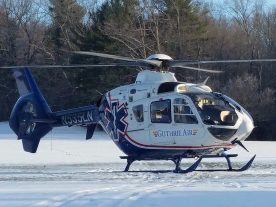 The man was flown by Guthrie Air helicopter to Robert Packer Hospital in Sayre, Pennsylvania for medical treatment.