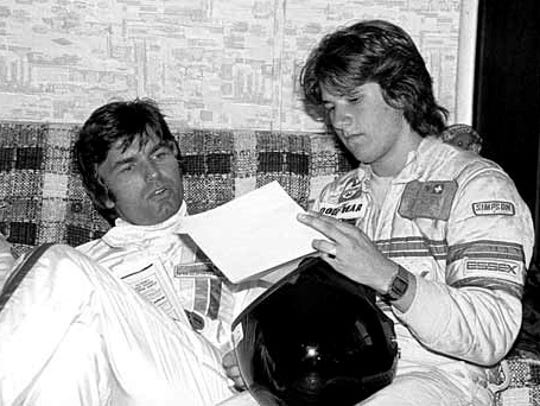 McCord with Michael Andretti, Watkins Glenn, 1977