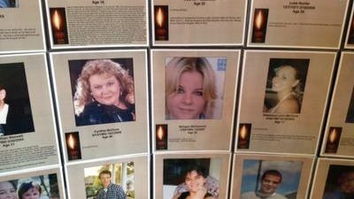 A display at the 2012 National Rx Drug Abuse Summit showed the faces of prescription drug abuse. Courier-Journal file photo by Laura Ungar