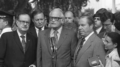 Three leading Capitol Hill Republicans - Senate Minority Leader Hugh Scott of Pennsylvania, Barry Goldwater of Arizona and House Minority Leader John Rhodes of Arizona - told embattled President Richard Nixon he did not have the support to survive impeachment proceedings.