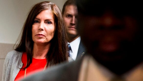 State Attorney General Kathleen Kane departs the Montgomery County courthouse Monday in Norristown.