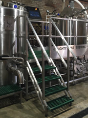 The brewhouse at Mighty Miss Brewery churns out five