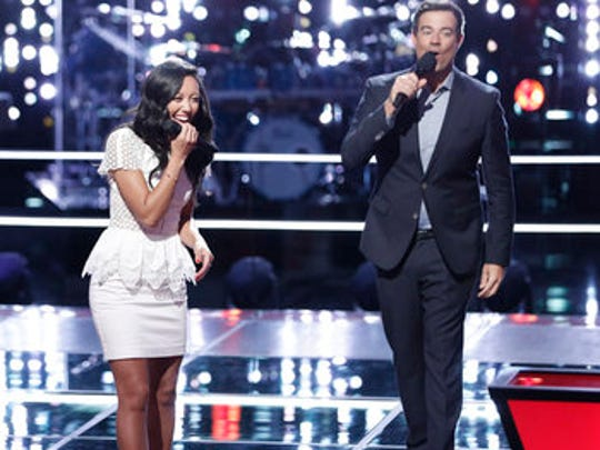Amy Vachal and Carson Daly  after her Knockout Round