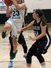 Cloudcroft's Kaylee Hickman puts up a shot in the paint.