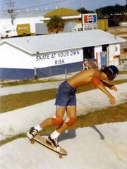 Kirk Pitts skates at the Paved Wave in Warrington in