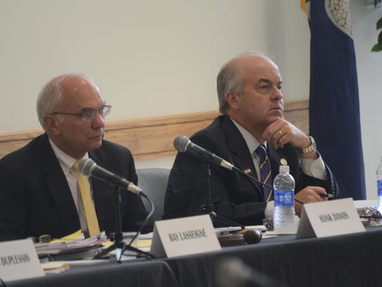 Hank Danos (left) and Blake Chatelain, members of the LSU Board of Supervisors, attend a meeting held Friday at Louisiana State University of Alexandria. It was the first time for the board to meet on the Alexandria campus in five years.