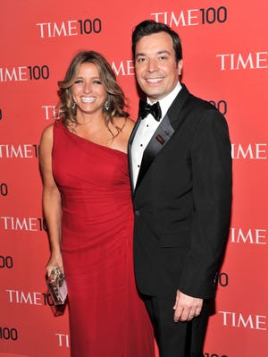 Talk show host Jimmy Fallon and wife Nancy Juvonen on April 23 in New York.