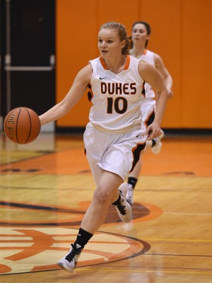 Marlboro High School's Julia Rusk dribbles against Franklin D. Roosevelt on Feb. 11